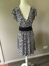 Jeanswest Black White Stretchy Short Sleeve Dress Size L Large