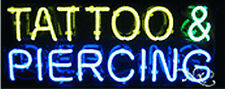 "BRAND NEW ""TATTOO & PIERCING"" 24x10x3 REAL NEON SIGN W/CUSTOM OPTIONS 12172"