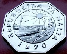 Quality Gem PROOF 1976 MALTA 25 CENTS  LOW MINTAGE Strike with great details!