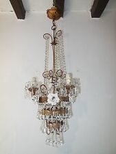~c 1920 Italian White Rose Murano Drops Tole Tiered Gold Gilded Chandelier OLD~
