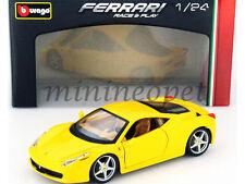BBURAGO 18-26003 FERRARI 458 ITALIA 1/24 DIECAST MODEL CAR YELLOW
