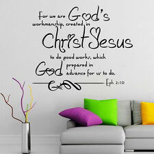 Wall Decal Bible Verse Psalms Ephesians 2:10 For We Are God's Vinyl Sticker 3609