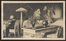 REAL PHOTO Postcard WRITING ROOM w/Victorian Wicker Furniture & Floor Lamp 1910s