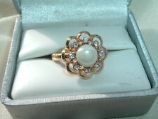 VINTAGE SARAH COVENTRY FAUX PEARL and RHINESTONE RING ADJUSTABLE IN RING BOX