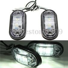 2 x CAR TRUCK TRAILER PIRANHA 2 LED SIDE MARKER BLINKER LIGHT LAMP BULB WHITE