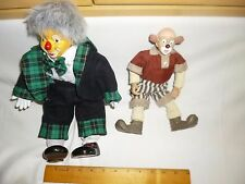 2 Vintage Bendable Clown Toy Dolls; Ceramic Feet/Hands Plush & Bozo Plush/Resin!