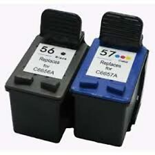 2x Compatible Ink Cartridges for HP 56 C6656A Black + HP 57 C6657A Color