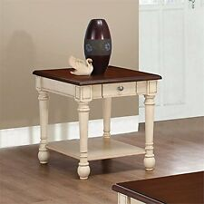Coaster Home Furnishings 704417 End Table Dark Brown/Antique White 704417 New