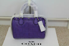 NWT Coach Embossed Croc Baby Bennett  Satchel Handbag in Purple F 55455 $295