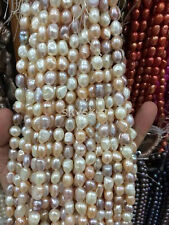 """NATURAL 8-9MM White pink purple Baroque Real Cultured pearls Loose Beads 14"""" AA"""