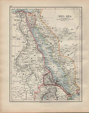 1902 MAP ~ RED SEA ~ EGYPT PENINSULA SINAI ERITREA YEMEN