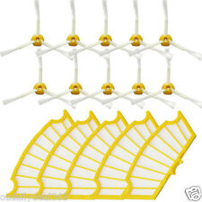 10X sided brushes + 5 Filters for iRobot Roomba 500 Series 530 550 560 570