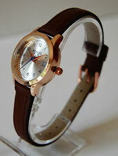Ladies Quartz Date Watch. Brown PU Leather Strap, Rose Gold Tone Case & Buckle