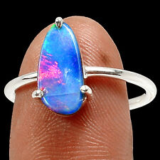 Australian Fire Opal 925 Sterling Silver Ring Jewelry s.8 SR186803