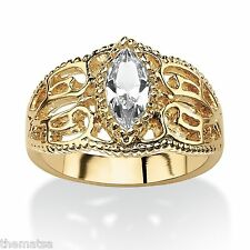 WOMEN MARQUISE CUT 14K GOLD FILIGREE APRIL DIAMOND BIRTHSTONE RING 5 6 7 8 9 10