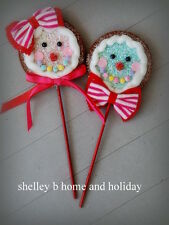 Gingerbread Lollipop Candy Color felt Christmas Ornaments s/2 12in NEW mtx45958