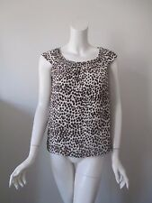 Kate Spade Live Colorfully Brown Animal Prints Scoop Neck Silk Top XS (2)