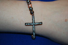 CROSS BRACELET BEADS ELASTIC CRUCIFIX RELIGION CHRISTIAN METALLIC COPPERY