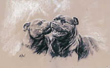 "STAFFORDSHIRE BULL TERRIER STAFFIE DOG LIMITED EDITION PRINT - ""Stealing a Kiss"""