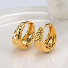 Cool 18k Yellow Gold Filled Carved Women Earrings 14MM Hoop Fashion Jewelry