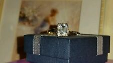 LADIES 9CT GOLD OCTAGON AQUAMARINE & DIAMOND RING SIZE N REDUCED 1 WEEK ONLY��