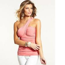 New Women's sz XS GUESS One-Shoulder Pink Shirred Top