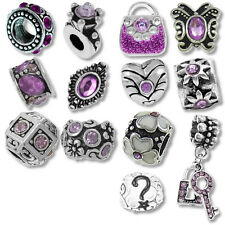 Beads and Charms for European Charm Bracelets Shades of Purple Birthstones