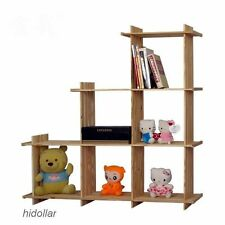 USA PINE TIMBER STEP BOOK SHELF BOOKCASE DISPLAY  6 CUBE 112X110CM FREE STANDING