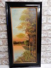 old PAINTING oil ART DECO LANDSCAPE signed HAL BURTON