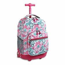 Rolling Wheeled Backpack for School Travel Book bag Luggage Carry- on for Girls