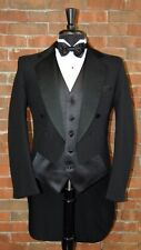 MENS 39 L BLACK PINSTRIPE TAIL TUXEDO JACKET / PANT / SHIRT / BOW by LORD WEST
