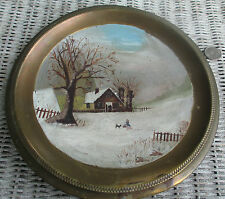 "folkart painting on Antique brass flue cover Looks like GrandMa Moses ""Primitive"