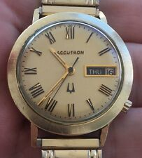 Very Nice Running 1972 Bulova Accutron 14k Gold Filled Case Day Date Mens Watch