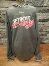 Detroit Red Wings Hoodie Reebok Center Ice Play Dry Gray Size XL EUC