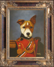 P.Kelly_Cute~General Dog Portrait_Original Oil Painting+Wood Frame