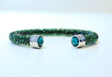Swarovski Crystaldust Cuff Bangle Green M 5250690 Authentic Brand New In Box