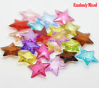 100 BRIGHT COLOURED 18mm ACRYLIC STAR BEADS CARDMAKING~SEWING~CHILDS CRAFTS (H)