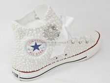 Womens Wedding pearl bridal flat Customised Low High Top Converse Sizes 3-8
