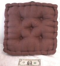 """Tufted Brown Foam Cushion Dining Chair Seat Pad 15"""" Square 3"""" Thick Faux Suede"""