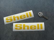2x stickers SHELL 13cm jaune auto car sport decals pegatinas aufkleber A193-211
