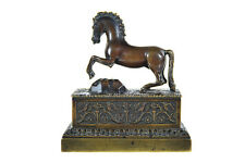 19th c. Exquisite French Bronze Perfume Bottles holder w/Horse Motif -Rare