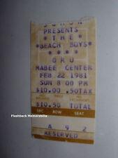 BEACH BOYS 1981 Concert Ticket Stub TULSA OK MABEE CENTER O.R.U. Rare