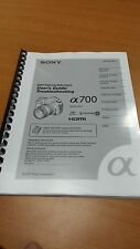 SONY SLR A700 SLR CAMERA FULLY PRINTED INSTRUCTION MANUAL USER GUIDE 180 PAGES