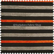 Naranja gris negro con textura de Patrón de Rayas Chenille Cortinas & Tela de tapicería
