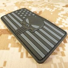 BLACK Punisher American Flag Tactical PVC Rubber Velcro Patch Army US NAVY SEALS