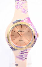 Ravel Ladies Rose Gold Tone Quartz Watch with Peach & Lilac Floral Silicon Strap