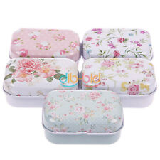 Pill Storage Jewelry Box GRS Iron Lovely Flower Tin Candy Case Gift Mini