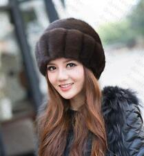 Winter Women Real New Mink Fur Hat Cap Headgear Beanie Beret QS 0001.3