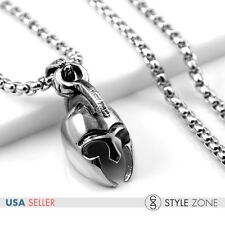 Men's Gothic Stainless Steel Warrior Helmet Pendant with Smooth Box Necklace P20