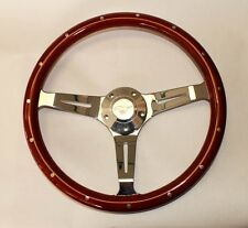 "65-69 Mustang Steering Wheel 15"" Wood with Running Pony Center Cap"